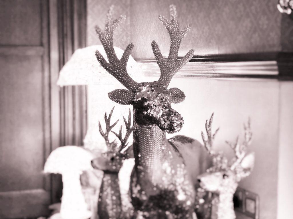 Display of ornamental deer for Christmas